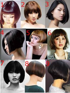 Show your Hairdresser and pick a number ^_^ Summer Haircuts, Short Bob Haircuts, Modern Haircuts, Cool Haircuts, Pretty Hairstyles, Easy Hairstyles, Funky Bob, Short Hair Cuts, Short Hair Styles