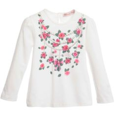 Miss Blumarine - Girls White Diamanté Bow Top | Childrensalon