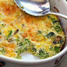 Broccoli, mushroom, egg and cheese breakfast casserole recipe