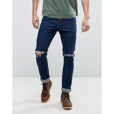 ASOS Skinny 12.5oz Jeans With Rips In Dark Blue ($40) ❤ liked on Polyvore featuring men's fashion, men's clothing, men's jeans, blue, mens ripped jeans, mens torn jeans, tall mens jeans, mens skinny jeans and mens skinny fit jeans
