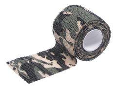 Stoffen camouflage tape voor uitrusting en dergelijke - 5 cm. breed en 4,5 meter lang  -  Woodland