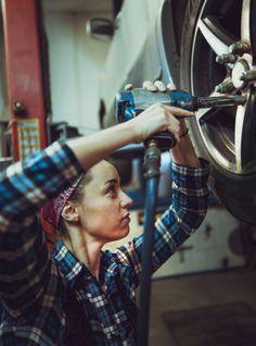 Female mechanic working on car tyre service stock photo – garage Woman Mechanic, Mechanic Humor, Body Poses, Rally Car, Car Humor, Car Photography, Girl Power, Stock Photos, Toddler Girls