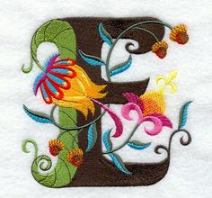 Machine Embroidery Designs at Embroidery Library! - Jacobean Letter E (5 Inch)