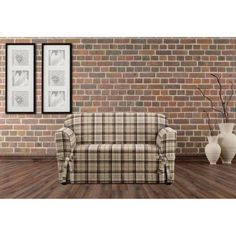 Sure Fit Highland Plaid 1-Piece Straight Skirt with Ties and Cord Loveseat Slipcover, Brown