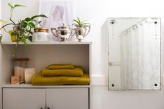 There is no limit to the creative and useful bathroom storage ideas you can try. Your bathroom may be small, but that doesn't mean you can't get a lot from it. Cabinet Space, Vanity Cabinet, Built In Shelves, Built In Storage, Vintage Vanity, Vintage Art, Clever Bathroom Storage, Small Bathroom, Storage Spaces