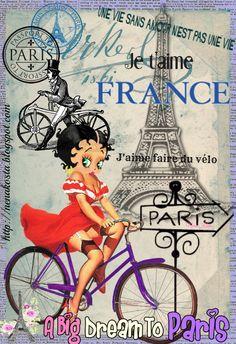 MALETA DE RECORTES: Bicicletas con Flores+Betty Boop collage+Posters Vintage