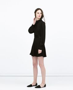 FLARED DRESS WITH COLLAR AND BOW from Zara