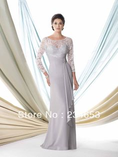 2014 Sexy Silver Lace Chiffon Trumpet Mother of the Bride Dresses with Long Sleeve Bolero Jacket Formal Gown