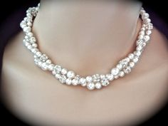 Pearl necklace // Swarovski // Crystal rhinestone necklace // Bridal jewelry // 2 strands // twisted pearl necklace // Brides necklace // on Etsy, $73.53 CAD