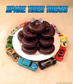 Spare tire treats for Hot Wheels birthday party.