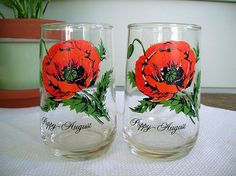 2 Vintage Flower of the Month August Poppy Drinking Glasses Water Tumblers 12 oz. Poppy Images, Water Tumbler, August Birthday, Great Birthday Gifts, Drinking Glass, Red Poppies, Vintage Flowers, Tumblers, Pennsylvania
