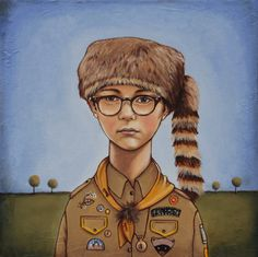 """Sam"" oil on canvas SOLD 12x12  Wes Anderson ""Moonrise Kingdom"""