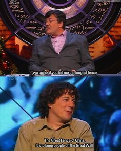 Alan Davies and Stephen Fry are the life of QI British Humor, British Comedy, Tv Funny, Hilarious, Alan Davies, Little Britain, British Things, Comedy Show, Funny People