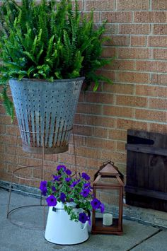 Neat way to reuse a tomato cage as a plant stand.