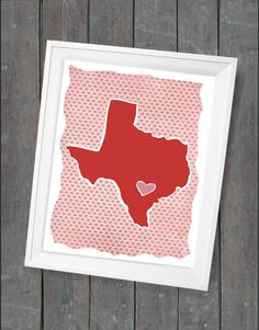 Customized State Art Print or Country Print - Texas 8x10. via Etsy.