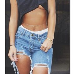 jeans ripped jeans crop tops body chain tumblr dope wishlist