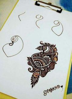 Step by step henna Henna Hand Designs, Beginner Henna Designs, Mehndi Art Designs, Bridal Mehndi Designs, Henna Tattoo Designs, Heena Design, Mehndi Design Photos, Beautiful Mehndi Design, Mehndi Images