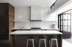 Short listed for Australian Interior Design Awards, residential. Kitchen Interior, New Kitchen, Kitchen Dining, Kitchen Decor, Minimal Kitchen, Stone Kitchen, Smart Kitchen, Kitchen Stools, Kitchen White