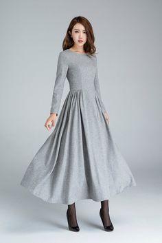 wool dress pleated dress grey dress long dress winter by xiaolizi Women's Dresses, Warm Dresses, Winter Dresses, Elegant Dresses, Vintage Dresses, Evening Dresses, Casual Dresses, Fashion Dresses, Dress Winter