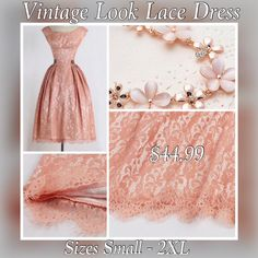 This is a lovely pink lace vintage look dress. Knee length, made from lace material, one piece, concealed zipper. Available in sizes small to 2XL.    Please note the measurements for each size below.    **PLEASE BE SURE TO CHECK YOUR MEASUREMENTS PRIOR TO PLACING YOUR ORDER. THESE DRESSES RUN SMALL.**    SMALL:  33.86 INCH BUST  26.77 INCH WAIST  39.37 INCH LENGTH    MEDIUM:  35.43 INCH BUST  28.35 INCH WAIST  39.37 INCH LENGTH    LARGE:  37.01 INCH BUST  29.92 INCH WAIST  39.76 INCH LENGTH…