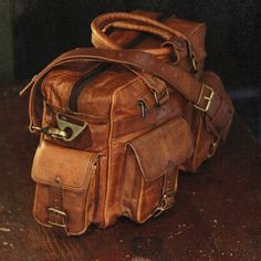 Everett Leather Pilot Briefcase Bag - Camel