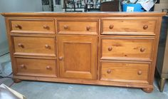 I found this knotty pine dresser at the Goodwill.  I liked the style, but I wasn't crazy about the finish (the top was in really rough shape) or all of those wo…