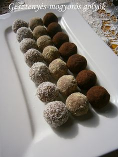 Hankka: Gesztenyés-mogyorós golyók Macaron, Nutella, Food And Drink, Cookies, Sweet, Recipes, Mood, Candy, Weihnachten