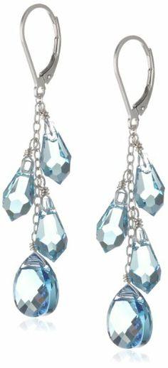 Sterling Silver Swarovski Elements Aquamarine Colored Multi-Teardrop and Briolette Earrings