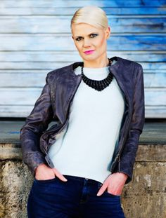 """Anka"" collarless short leather jacket. Spring 2013"