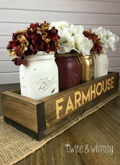 Items similar to Mason jar decor, Mason jar centerpiece, Wood Box Centerpiece, Long wood box on Etsy Easy Home Decor, Handmade Home Decor, Cheap Home Decor, Wood Box Centerpiece, Mason Jar Centerpieces, Christmas Centerpieces, Fall Decorations, Autumn Centerpieces, Diy Casa