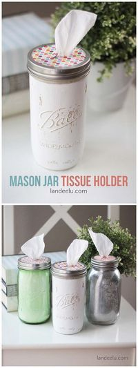DIY Bathroom Decor Ideas for Teens - Mason Jar Tissue Holder - Best Creative, Cool Bath Decorations and Accessories for Teenagers - Easy, Cheap, Cute and Quick Craft Projects That Are Fun To Make. Easy to Follow Step by Step Tutorials http://diyprojectsforteens.com/diy-bathroom-decor-teens More