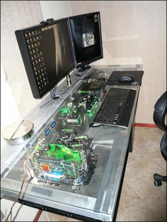 The coolest Desktop computer. Its built into the desk. #computer #geek
