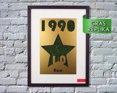 La tercera estrella 1990 - marco silueta de pared con campeones del mundo de fútbol de césped réplica / Copa del mundo / Alemania / Alemania / deportes