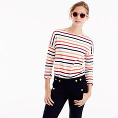 """Saint James has been spinning some of the world's finest knits out of its Normandy-based factory since 1889 and has become famous for its Breton shirt, a nautical-inspired style featuring classic stripes. Designed exclusively for us, this airy cotton version features a roomy body and slimmer sleeves. <a href='https://hello.jcrew.com/2015-04-apr/studio-tour-saint-james'><u>Tour the Saint James factory.</u></a> <ul><li>Loose fit.</li><li>Body length: 23 3/4"""".</li><li>Cotton.</li><li>Machine…"""