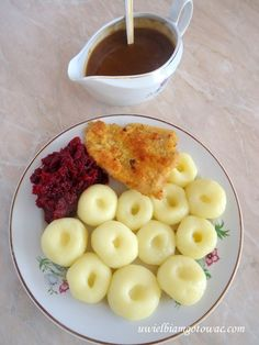 Kluski śląskie Polish Food, Polish Recipes, Oatmeal, Food And Drink, Dinner, Breakfast, Deserts, The Oatmeal, Dining
