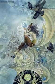 Capricorn Zodiac Art by Stephanie Pui-Mun Law. Zodiac Art, Astrology Zodiac, Zodiac Signs, Capricorn Art, Capricorn Season, Mystique, Illustrations, Illustration Story, Book Of Shadows