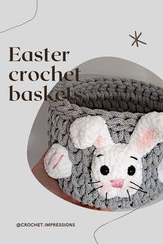 Crochet Baskets, Easter Crochet, Easter Baskets, Easter Bunny, Bandana, Nursery Decor, Group, Knitting, Board