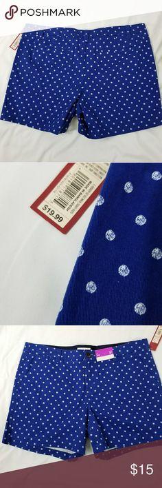 "🍓 Merona Royal Blue and White Polk a dots Shorts Merona Royal Blue and White Polk a dots Shorts  5"" inseam  100% Cotton  (A27) Merona Shorts"