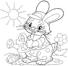 Tracing Worksheets for Kids - Bunny with Watering  Can