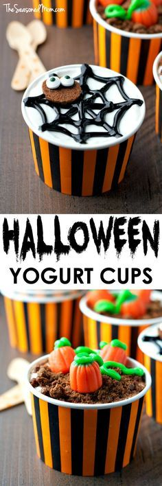 These easy Halloween Yogurt Cups are a 5-minute snack idea that the kids cannot resist! Create spooky spider webs and festive pumpkin patches that are perfect for Halloween celebrations, school parties, or other fall gatherings. #HorizonSnacks #ad @HorizonOrganic