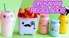Diy 6 ideias fofas Kawaii com material reciclável ft Segredos de Aline #diy #kawaii #cofrinho #reciclagem #biscuit #potes #decorativos #fofos