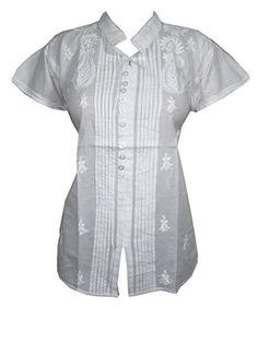 """White Top Blouse Floral Embroidered Pleated Cotton Shirt Tops (Chest: 44"""") Mogul Interior http://www.amazon.com/dp/B00RQ2RE54/ref=cm_sw_r_pi_dp_8e8Rub0MSEY99"""
