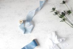 Silk ribbon Hand dyed Powder blue Wooden spool Plant by SieDesigns