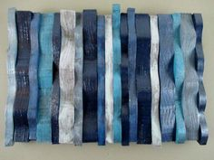 Wall Sculpture, Wooden Wall Hanging, Blue Wall Art - pinned by pin4etsy.com