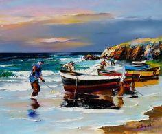 Op het strand met de boten