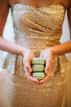 glittering gold bridesmaid + a stack of macarons...sheer heaven   Photography By / haleysheffield.com, Event Design By / jessicainteriors.com