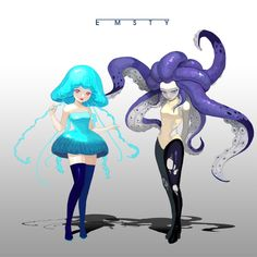Jellyfish & Octopus by Emsty _ on ArtStation. Character Concept, Character Art, Concept Art, Character Sketches, Alien Character, Art Sketches, Fantasy Kunst, Fantasy Art, Arte Punk