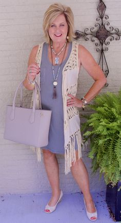 50 IS NOT OLD   FAVORITE TRICK TO LOOK SLIMMER   Long Vest   Fringe   Knit Dress   Fashion over 40 for the everyday woman