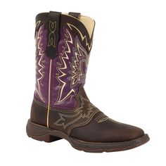 Lady Rebel by Durango Womens Plum Leather Square Toe Cowboy Boots