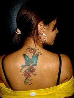 Butterfly and Flower Tattoos on Back 4